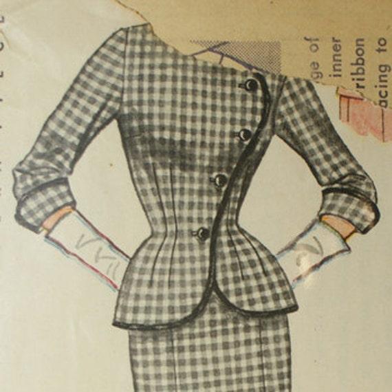1950s Asymmetrical Skirt Suit Pattern - Bust 32 Simplicity 8414