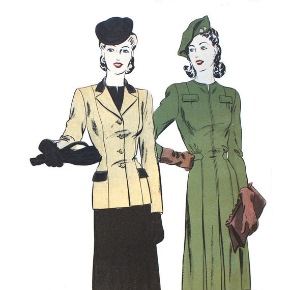 1940s Dress Sewing Pattern - Vogue 9153 Bust 30