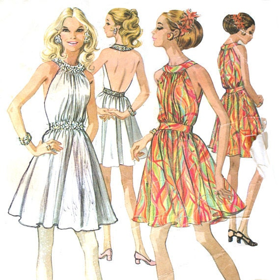 1960s Backless Halter Dress Pattern - Bust 31.5 McCall's 2162