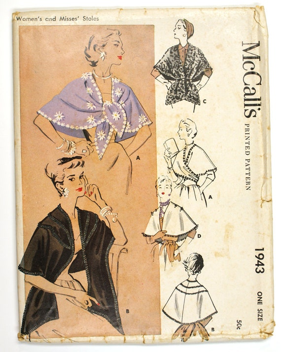 FF 1950s Evening Wrap Stole Pattern - McCall's 1943