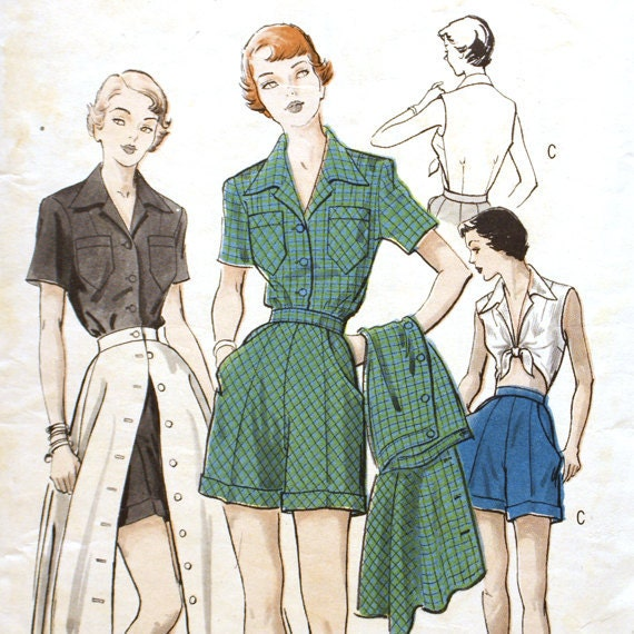 1950s Three Piece Playsuit Pattern - Butterick 5333 Bust 34