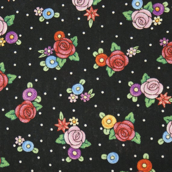 Mary Engelbreit Fabric Black Polka Dot And Fried Egg Flowers