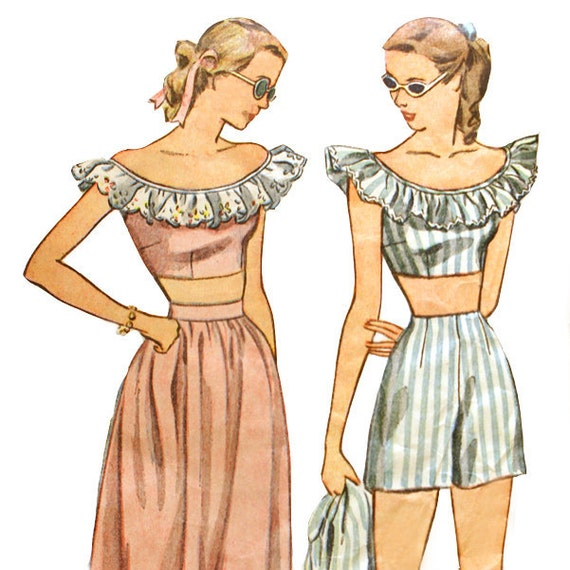 1940s Playsuit Sewing Pattern Crop Top Shorts Simplicity 1976 Bust 32