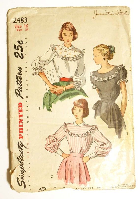 1950s Blouse Pattern Bust 32 Simplicity 2589 Short or Long Bishop Sleeve