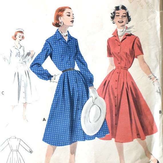 Vintage 1950s Tailored Coat Dress Pattern Bust 36 Butterick 7478