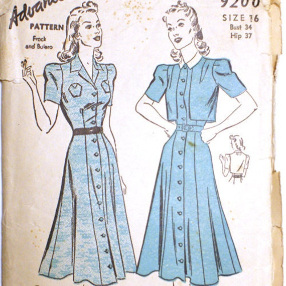 Vintage 1930s early 40s Dress Pattern and Bolero Bust 34