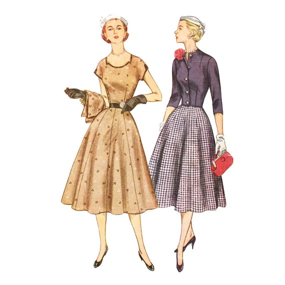 Simplicity 8470 Misses 1950s Dress Pattern Notched Low Neckline Short Kimono Sleeves Jacket Flared Skirt Vintage Sewing Pattern Bust 34