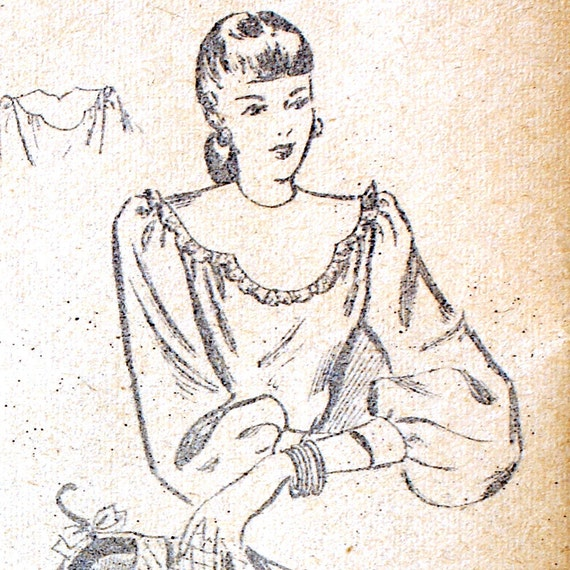 Misses 1940s Blouse Pattern Shaped Yoke Bust 38 Fashion Bureau 2445 Vintage Sewing Pattern Long Sleeves Womens 40s Top