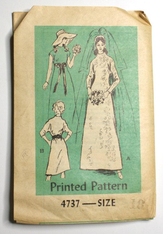 Anne Adams 4737 Misses 1970s Wedding Dress Pattern Bust 40 Funnel Neckline Dolman Sleeves Vintage Sewing Pattern UNCUT