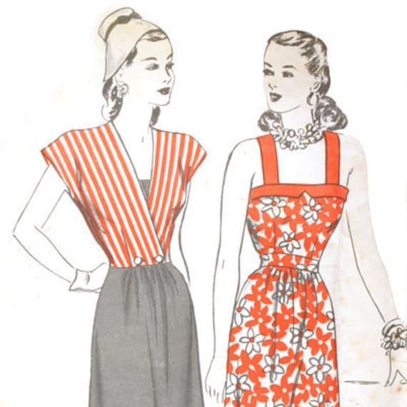 Hollywood 1570 Misses 1940s Sun Dress Pattern Surplice Jacket  Bias Trim Bust 34 Vintage Sewing Pattern UNCUT