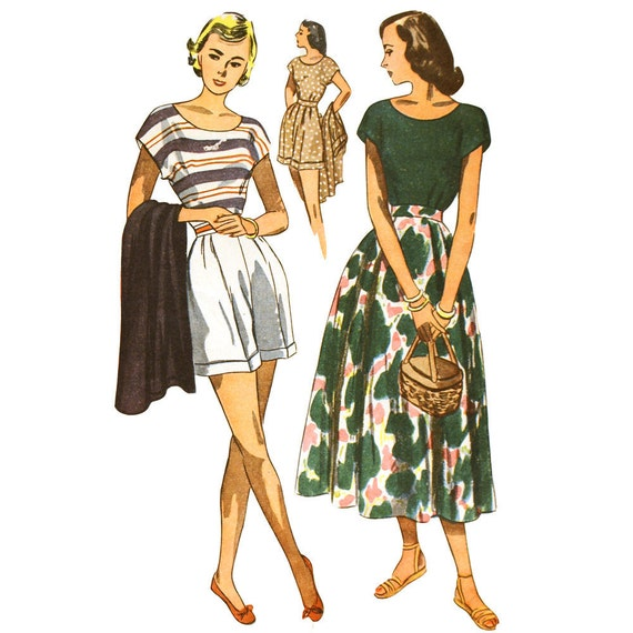 1940s Playsuit Pattern Blouse Shorts and Skirt Bust 32 Simplicity 2567