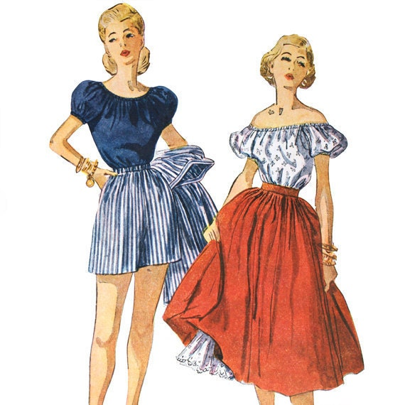 1940s Peasant Blouse Shorts and Skirt Pattern - Bust 32 Simplicity 4292