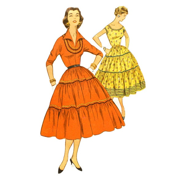 Simplicity 4733 Misses 1950s Dress Pattern Gathered Tiered Skirt Bust 30 Rick Rack Vintage Sewing Pattern UNCUT