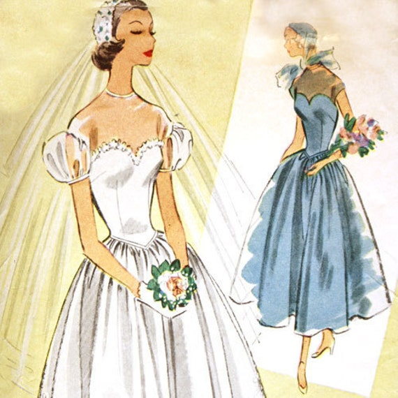 McCall's 8822 Misses 1950s Wedding Dress Pattern Basque Waist Full Skirt Vintage Sewing Pattern Bust 32 Sweetheart Neckline