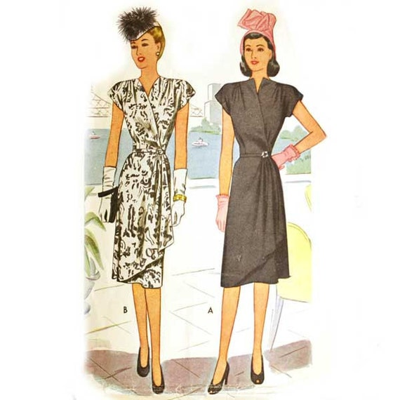 McCall 6440 Misses 1940s Wrap Dress Pattern Asymmetrical Draped Cocktail Vintage Sewing Pattern Bust 32