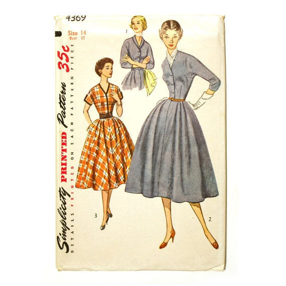 Simplicity 4369 Misses 1950s Dress Pattern Bust 32 Kimono Sleeve Pleated Flared Skirt V Neckline Womens Vintage Sewing Pattern UNCUT