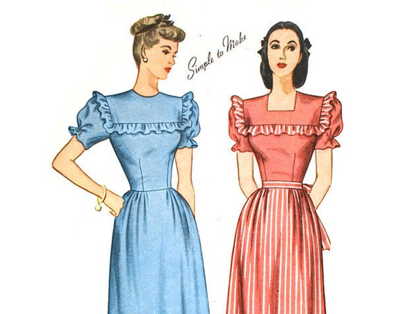 Simplicity 1553 Misses 1940s Dress Pattern Ruffle Trim Yoke Puffed Sleeve Sleeveless Round Square Neck Vintage Sewing Pattern Bust 34