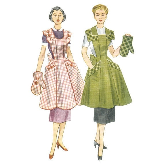 Simplicity 4092 1950s Apron Pattern and Mitt Bust 36-38 Vintage Sewing Pattern Half or Full Apron