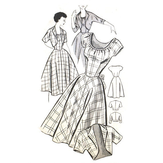 1950s Peasant Dress Pattern and Cropped Bolero - Bust 28 New Style 2664