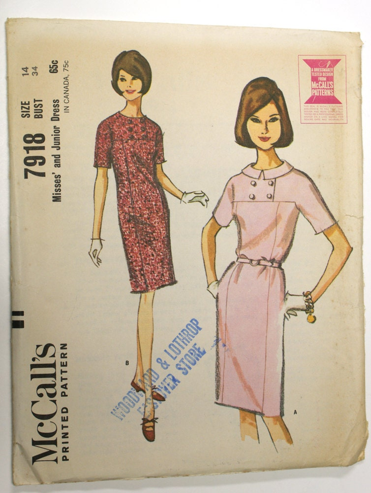 1960s dress pattern after Courrèges - McCall's 7918