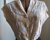 vintage blue and cream lace blouse