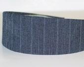 Fabric Covered Headband - GRAY PINSTRIPE, Wide Headband for Women or Girls