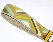 SALE - Keychain Wristlet, Key Fob - Geometric Print, Khaki Green Olive Neutrals