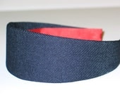 Fabric Covered Headband - Navy Blue Denim, Wide Headband for Women or Girls