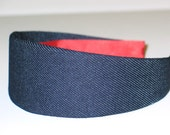Fabric Covered Headband - Navy Blue Denim, Wide Headband for Women or Girls