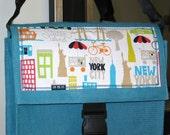 SALE - Aqua Blue Burlap Messenger Bag - New York, New York City, NYC, Staten Island