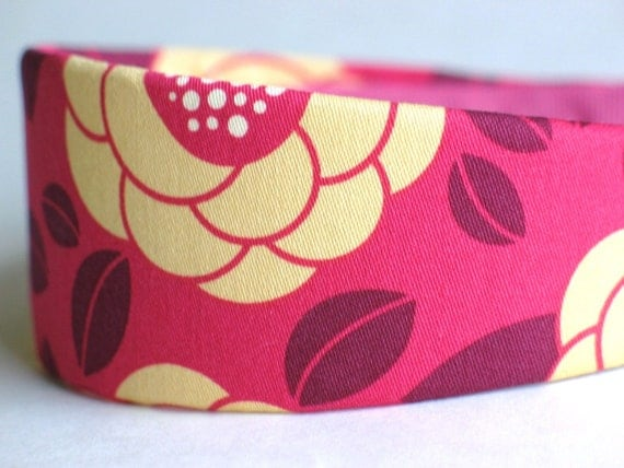 Ginseng Bloom in Raspberry - WIDE Headband for Women or Girls