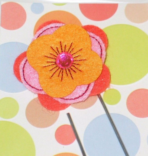 SALE-Felt Flower in Tangerine - Handmade Bookmark / Jumbo Paper Clip