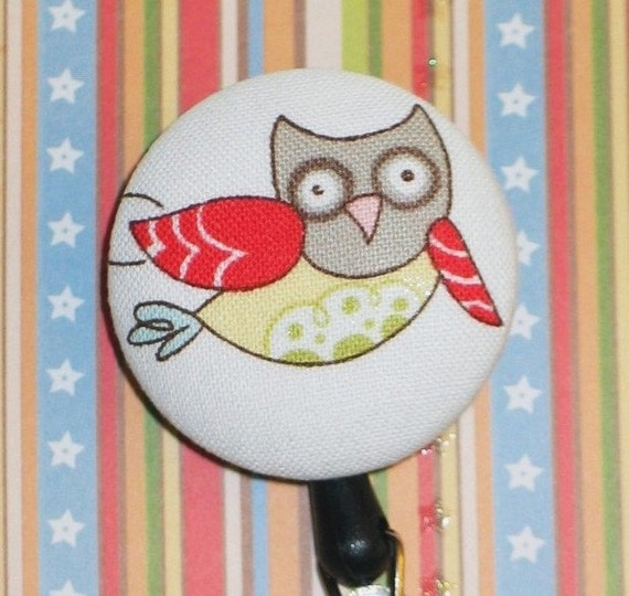 Fabric Covered Retractable Badge Reel / ID Holder - Flying Owl