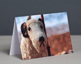 Barnaby Vintage Fox Terrier on Wheels Greeting Card, Fox Terrier, Wire Fox Terrier, Free UK Postage