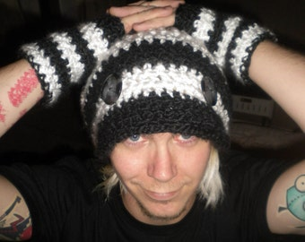 Hand Crocheted Messenger Hat & Hobo Glove set