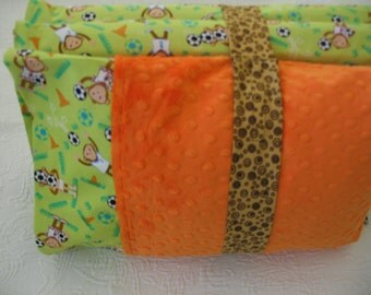 Custom Michael Miller Set Green Soccer Monkey Kinder Nap Mat