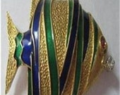 50 % off sale Vintage Fish Brooch 18 K Gold Diamond Ruby Enamel