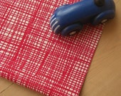 weave - hand screenprinted fabric in london bus red on oatmeal