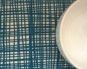 weave - hand screenprinted fabric in teal blue on oatmeal