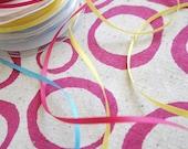 loops - screenprinted fabric in fuchsia pink