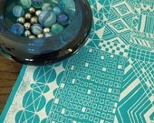 tiled - screenprinted fabric - silver ice on turquoise