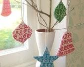 trio of retro style christmas decorations