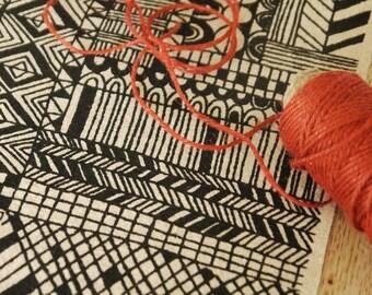 tiled -  screenprinted fabric