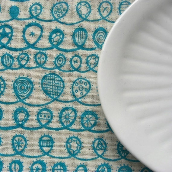 twist - screenprinted fabric in seafoam turquoise on oatmeal