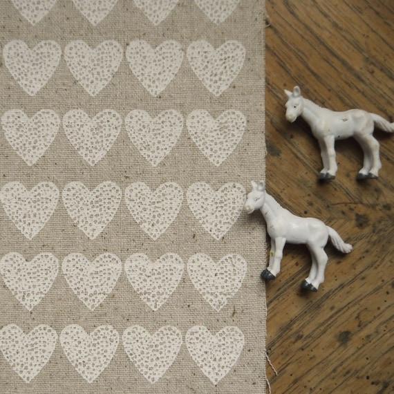 loveheart - screenprinted fabric