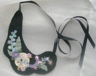 Felt Necklace - Collar, Choker Whimsical Garden