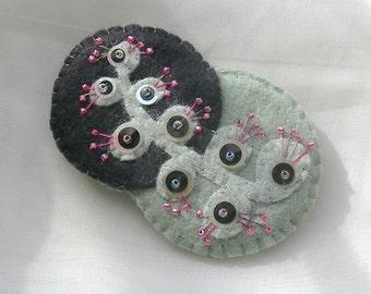 Felt Pin Sea Cactus Flower Pin Brooch in Black, Jade Green Raspberry - Felt Jewelry Accessory , Exotic Foliage Modern Art Style