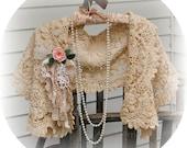 Antique Lace Bridal  Shrug Shawl Bolero Edwardian Rustic Romantic Lace Wrap Shabby Chic