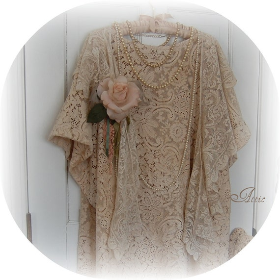 RESERVED- Please Do Not Purchase - Fourth  Payment from Sandy -  Lace Tunic made from Vintage