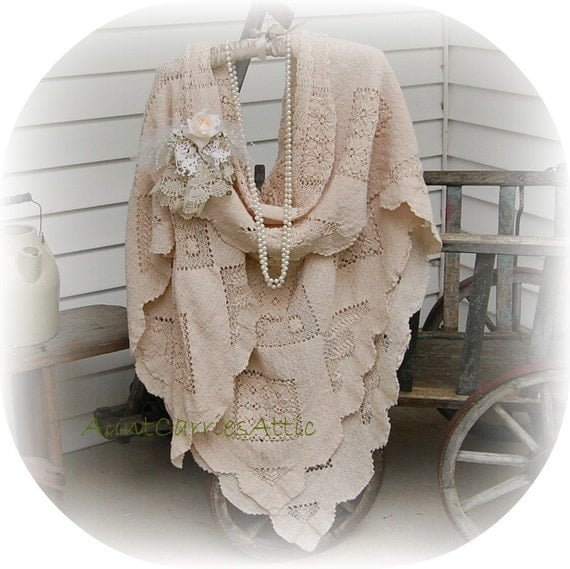 Lace Shawl made from Vintage Boho Beach Wedding Long Romantic Edwardian